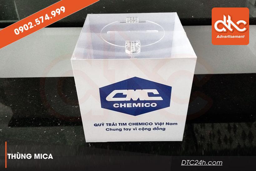 thùng từ thiện dán decal logo