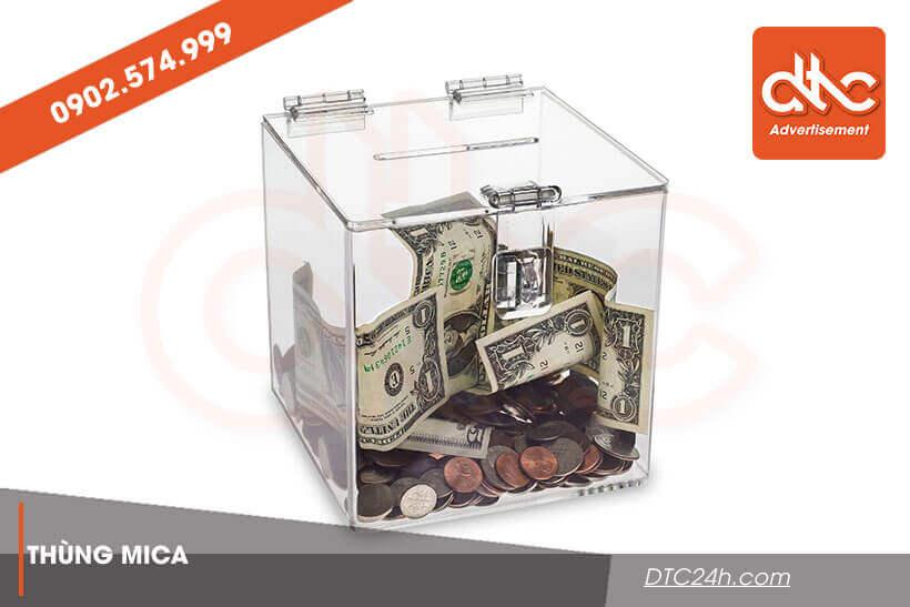 thùng từ thiện mica trong suốt giá rẻ hcm
