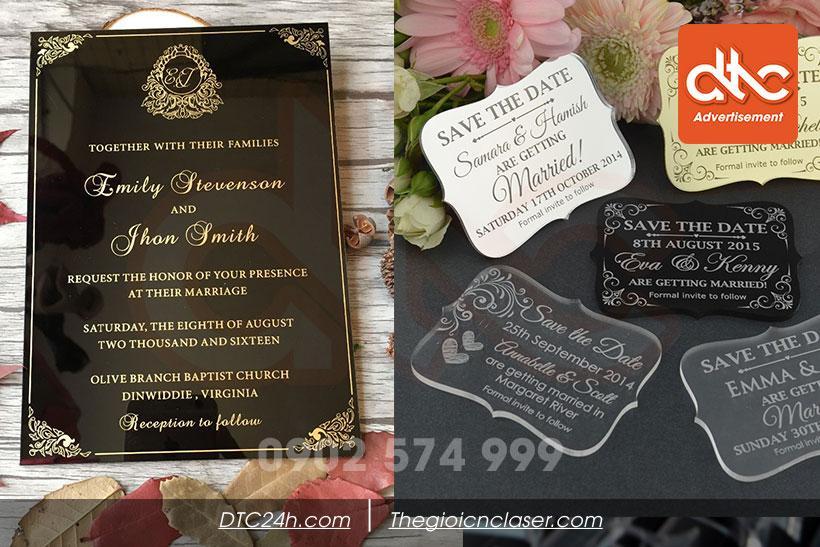 Thiệp cưới mica sang trọng và quý phái