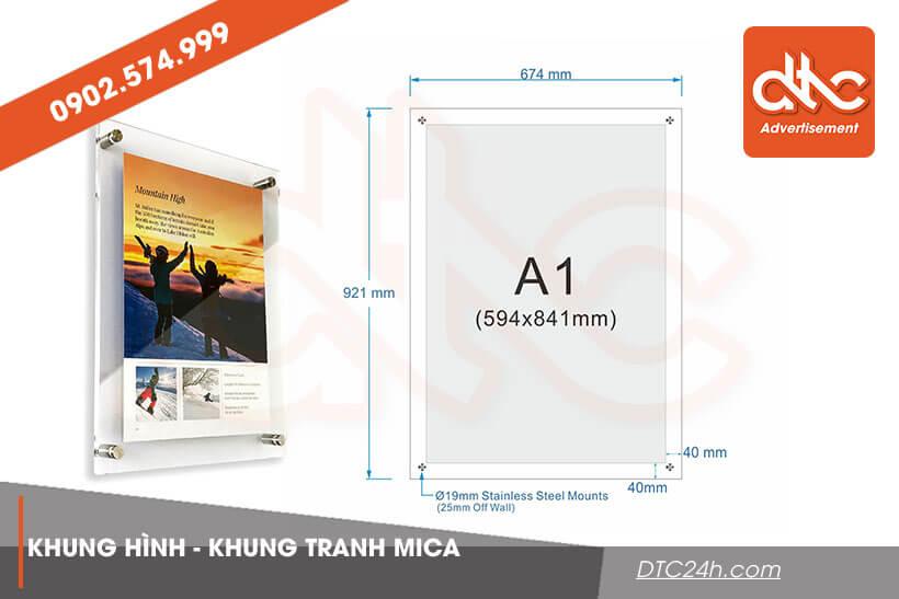 kích thước khung ảnh mica a1