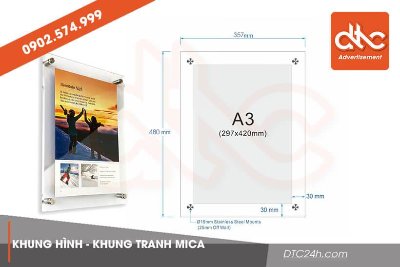 kích thước khung ảnh mica a3