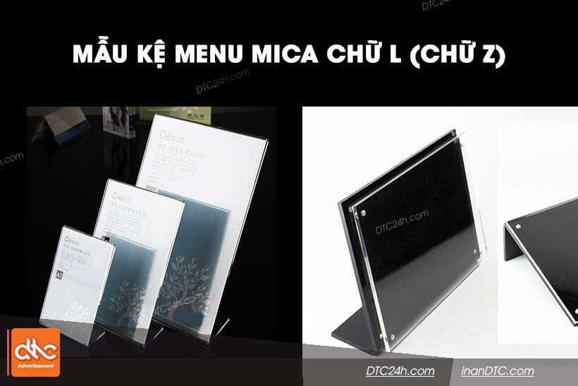 Mẫu kệ menu mica chữ L chữ Z