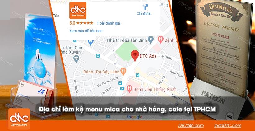 Địa chỉ làm kệ menu mica cho nhà hàng cafe tại TPHCM