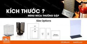 Kích thước menu mica thường gặp là bao nhiêu