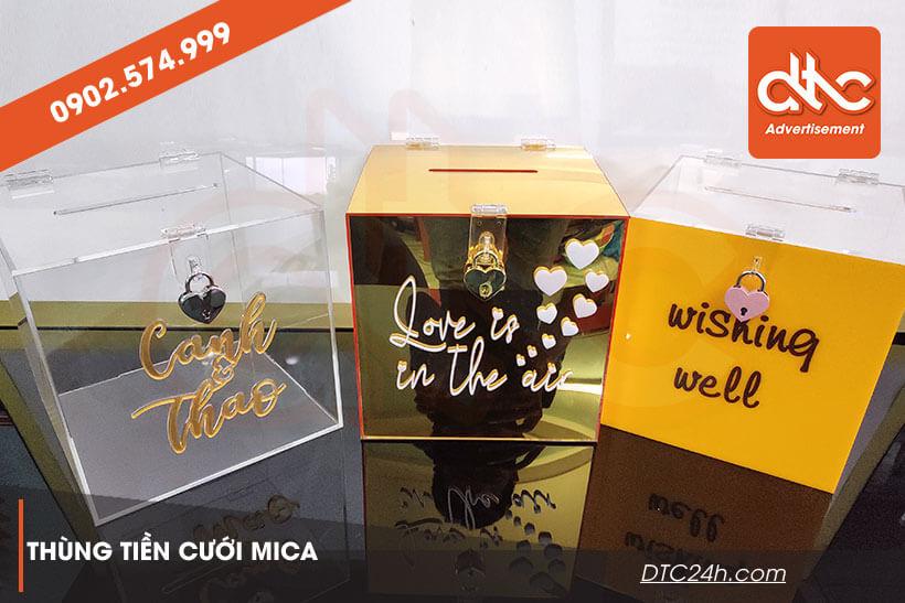 các mẫu thùng tiền đám cưới bằng mica gương