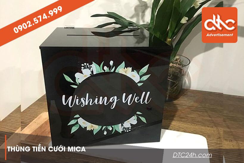 thùng cưới bằng mica in uv sang trọng