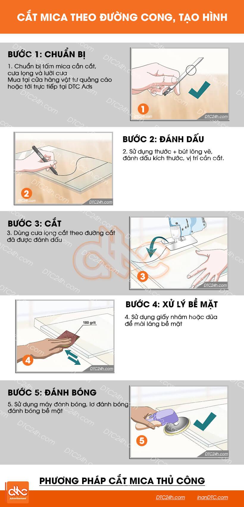 Hướng dẫn cắt mica theo đường cong