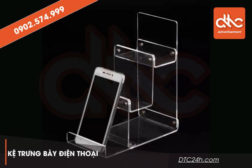 Kệ mica trưng bày điện thoại 3 tầng